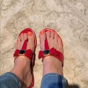 Red, Red Hot COLE Haan Signature Bow Sandals